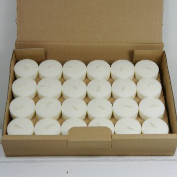 Teelichte aus recycelter Biomasse, ohne Hülle, 48Stk.