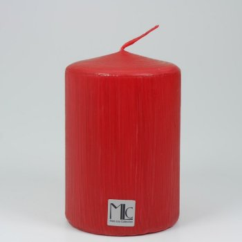 Farbige Stumpenkerze rot matt 100/70mm