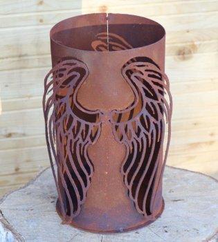 Edelrost Metall Deko, Windlicht Engel, H27cm